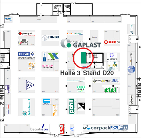 Standplan Cosmetic Business Halle 3 D20